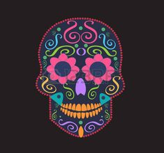 skull for fashion design, background or tattoo neon
