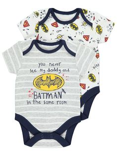 Get your little superhero excited for bedtime with this pack of 2 bodysuits in assorted superhero logo print designs. The soft pure cotton fabric will soon h. Dc Comics Collection, Comic Clothes, Asda, My Daddy, Latest Fashion For Women, The Ordinary, Kids Boys, Baby Boy, Batman
