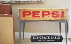 Here's a side table I upcycled from a vintage Pepsi crate that I've . Repurposed Furniture, Furniture Decor, Crate Table, Do It Yourself Projects, Toy Store, Wood Art, Woodworking Plans, Tea Lights, Craft Supplies