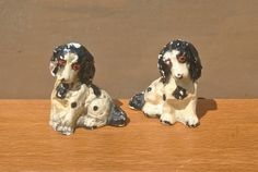 2 Shabby Chic Dogs. Vintage Chalkware Plaster Spaniel Style Dogs. Animal Lover Gift or Home Decor. by GoldenGully on Etsy