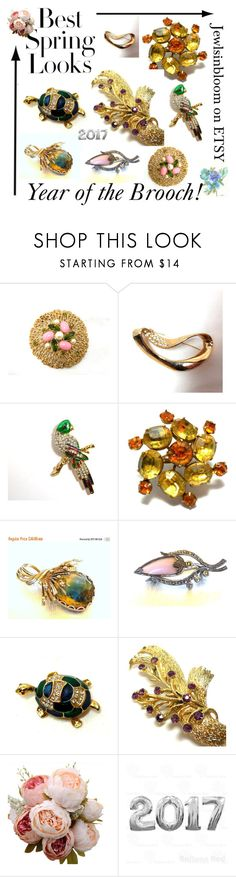 """""""2017...The Year of the Brooch"""" by jewlsinbloom ❤ liked on Polyvore featuring Sarah Coventry, H&M and vintage"""