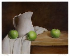 still life oil painting of pitcher and apples by Sarah Trefny *