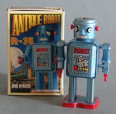 This 4.5 inch tall wind up tin and plastic robot was made in Japan in 1984 by Modern Toys - to commemorate the 30th anniversary of this classic original robot. Walks with swaying arms.