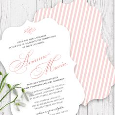 Beautiful Christening / Baptism invitation for a little girl designed & printed on a scallop shaped double sided card by Peach Perfect Australia.
