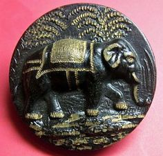 STAMPED BRASS ELEPHANT AGAINST TREES W/HEAVY BLACK TINT ETCHED W/GOLD