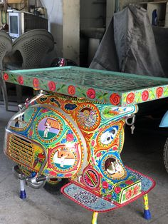 1962 Vespa VBB 150cc chopped in half, Pakistani truck art paint job and table top upcycled using an old jailey screen. Work done by Vintage Vespa in Islamabad, I-10.