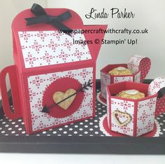 Coffee Pot (made with the Bakers Box Thinlits Die), coffee cups and tray  http://www.papercraftwithcrafty.co.uk/2017/01/anyone-for-coffee-bakers-box-die-is-so.html #papercraftwithcrafty  #lindaparker
