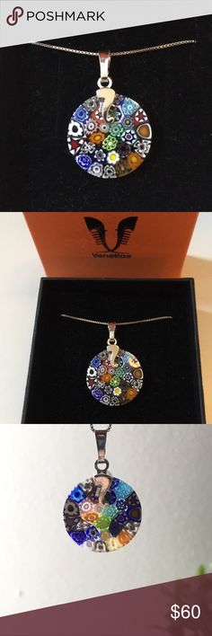 """Handmade Venetian Glass Necklace Stunning and unique handmade necklace with Venetian glass (bought in Venice, Italy). 925 sterling silver chain. Length 16"""" with lobster clasp. Brand new with box, perfect condition! Handmade Jewelry Necklaces"""
