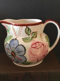 Vintage Blue Ridge China Southern Pottery Creamer Hand Painted Floral Motif  | eBay