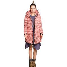 long sleeve polka dot wide-waisted Down coat plus size winter parkas outerwear jecktes