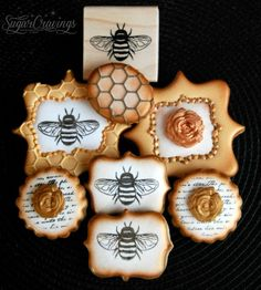 Accenting Cookies with Stamps and Airbrushing {Guest Post} – The Sweet Adventures of Sugar Belle Bee Cookies, Royal Icing Cookies, Cupcake Cookies, Sugar Cookies, Cupcakes, Cookies Decorados, Galletas Cookies, Iced Biscuits, Cookie Designs