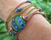 Rose Macrame Bracelet, Beaded Bracelet, Friendship Bracelet. $18.00, via Etsy.