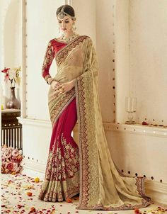 Beige and shaded maroon saree with blouse. Fabric - Satin silk and silk. Work - Embroidery work with embroidered patch border. Paired with the matching blouse piece.Please Note: The shades may vary slightly from the colors displayed on your screen Bollywood Designer Sarees, Designer Sarees Online, Chiffon Saree, Georgette Sarees, Maroon Saree, Beige Wedding, Maroon Wedding, Wedding Lace, Net Blouses