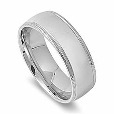 8MM HIGH Polished Ribbed Edge Stainless Steel Unisex Men Wedding Band Ring 6-14 THE ICE EMPIRE. $9.95. STYLE: HIGH POLISH RIBBED EDGE FIT. METAL: 316L STAINLESS STEEL. FIT: VERY COMFORTABLE. BAND WIDTH: 8MM