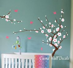 Vinyl Wall Decals Tree Wall Decals Green Tree Red Flower Blue Birds In  Spring Nature Wall Dcals Wall Murals Nursery Wall Decals Z141 Cuma. Part 94
