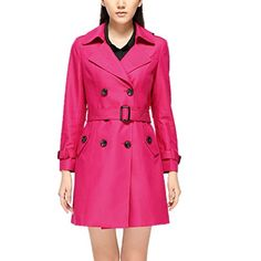 THIN MORE Womens Plus Size DoubleBreasted Belted Winter Coats 16W Hot Pink * Visit the image link more details.