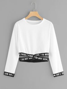 Shein Criss Cross Hem Sweatshirt is part of Hem sweatshirt - Summer Sweatshirts, size features areLength Crop,Sleeve Length Long Sleeve, Teen Fashion Outfits, Outfits For Teens, Trendy Outfits, Cool Outfits, Fashion Clothes, Emo Fashion, Fast Fashion, Korean Fashion, Girl Fashion
