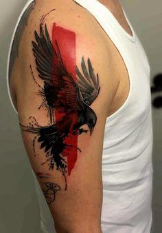 Trash Polka Shoulder Raven Tattoo