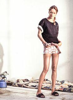 Isabel Marant Etoile Spring/Summer 2014  LANDERS top + FLAVIEN t-shirt + NORINA shorts + UDEN belt