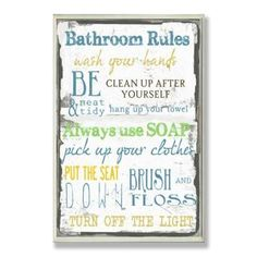 Shop for Bathroom Rules Typography Wall Plaque. Free Shipping on orders over $45…
