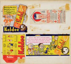 WARNER BROS. EARLY KOLDEE BAR WRAPPERS - (Warner Bros. Studio, circa 1937-1939) extremely rare page from a publicity Notebook featuring wrappers and boxes for an early Looney Tunes promotion with Koldee Ice Cream Bars. The wrappers feature early versions of Porky pig, Daffy Duck, Egghead and Petunia Pig, as well as rare images of Patrick Parrot and Fluffnums.