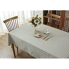 Amazon.com: Wimaha Plaid Checkered Tablecloth Cotton Linen Rectangle Table cloths Rectangle Table clothes Washable 52 x 70 Inches Grey: Home & Kitchen