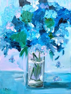 Blue Flowers in Glass Vase: 'Blue Flowers in Glass Vase' is painted using the impressionistic stye. Lose and delicate, this painting is… Impressionist Paintings, Impressionism, Canvas Board Painting, Bird Artists, Irish Landscape, Blue And White Vase, Irish Art, Lilac Flowers, Acrylic Art