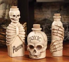 Eerie poison and toxic skeleton bottles of bones appear to have been unearthed from the graveyard, who knows what these Skeletal Bottles of bones and skulls posses? You'll dig these spooky bone white Más Soirée Halloween, Halloween Potions, Halloween Bottles, Halloween Projects, Diy Halloween Decorations, Holidays Halloween, Halloween Apothecary, Bottle Art, Bottle Crafts