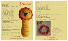 leoncio Crochet Baby Toys, Crochet Bear, Crochet For Kids, Crochet Dolls, Baby Rattle, Amigurumi Doll, Animals For Kids, Softies, Free Pattern