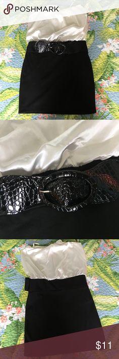 Body Central black and white body con dress strapless body con dress with black belt Body Central Dresses Mini