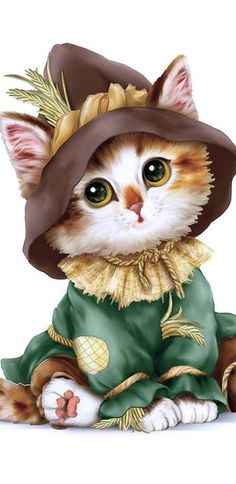 Wizard of Oz Scarecrow-Cute Cat DIY Diamond Embroidery Painting Cross Stitch Craft Kits Home Decor Image Chat, Cross Stitch For Kids, Cute Animal Drawings, Cat Costumes, Cross Paintings, Cat Drawing, Cute Cartoon, Cartoon Cats, Cat Art