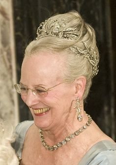 The Tiaras of Queen Margrethe II of Denmark Spam Birthday Private Dinner, April 2010 Floral Aigrette Tiara Denmark Royal Family, Danish Royal Family, Royal Crowns, Tiaras And Crowns, Hair Jewels, Crown Jewels, Royal Jewelry, Crystal Jewelry, Jewellery