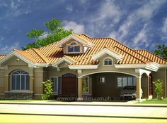 Modern Bungalow House, Bungalow House Plans, Courtyard House Plans, Facade House, Small House Design, Modern House Design, 4 Bedroom House Designs, House Plans Mansion, Model House Plan