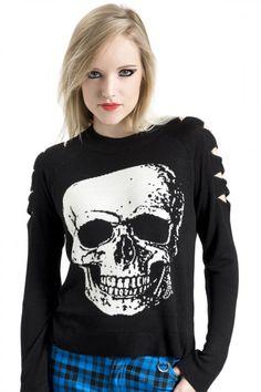 Women's Big Skull Sweater With Upper Arm Slits