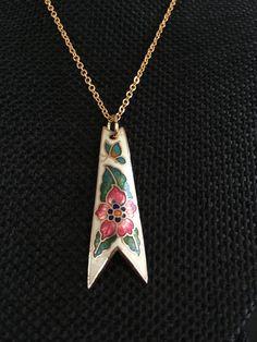 Cloisonne pendant, white cloisonne pendants, vintage cloisonné jewelry, cloisonné pendants, vintage cloisonné, white cloisonne,  N208 by DuckCedar on Etsy