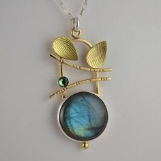 Labradorite Leaf Pendant - Artisan Labradorite Necklace - Art Jewelry via Etsy