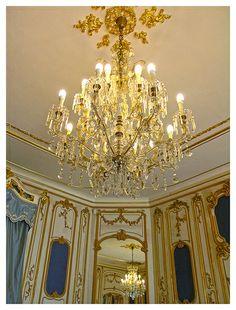 Inside the Esterhazy palace  - chandelier - Fertőd, Hungary