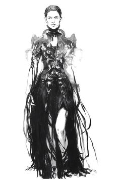 Black & white fashion illustration of an Alexander McQueen dress // Diana Kuksa