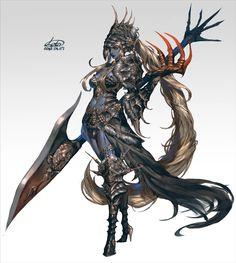 Art by – Kallisto Fantasy Character Design, Character Design Inspiration, Character Concept, Character Art, Fantasy Concept Art, Fantasy Armor, Fantasy Girl, Dark Fantasy, Fantasy Characters
