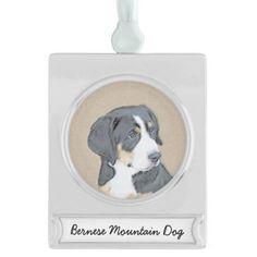 #Bernese Mountain Dog Puppy Silver Plated Banner Ornament - #bernese #mountain #dog #puppy #dog #dogs #pet #pets #cute #bernesemountaindog