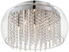 Crystal Rainfall Glass Drum Possini Euro Ceiling Light - EuroStyleLighting.com