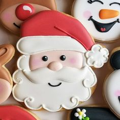 Get inspired for your next baking project by viewing a variety of decorated cookies made from Ann Clark Cookie Cutters. Santa Cookies, Christmas Sugar Cookies, Iced Cookies, Cute Cookies, Cookies Et Biscuits, Holiday Cookies, Christmas Desserts, Christmas Baking, Christmas Treats