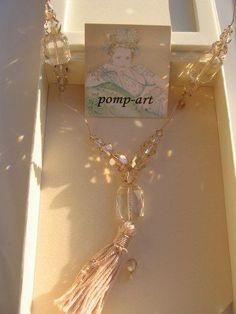 Schöne & edle Kette m. Swarovski ® Perlen von pomp art * champagner *