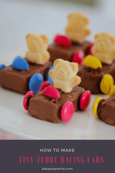 These super cute Tiny Teddy Racing Cars are the ultimate in kids party food! Made from Milky Ways, Smarties and Tiny Teddies, these quick and easy cars are always a hit!