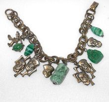 Asian Charm Bracelet with Oriental Green Glass Charms