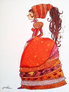 """""""Princesse Padma"""", aquarelle originale, modèle unique. : Peintures par anne-soline-sintes"""