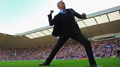 Alan #Pardew (#Newcastle United FC)  Manager Alan Pardew of Newcastle United FC celebrates after the opening goal during their English Premier League match against AFC Sunderland