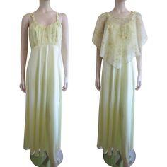 Yellow Maxi Dress Shawl Vintage 1970s Floral Sheer Summer Sun Dress Bridesmaid http://www.rubylane.com/item/676693-CLO104/Yellow-Max78i-Dress-Shawl-Vintage-1970s