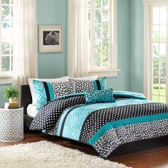 4 Pc QUEEN Leopard Animal Print Comforter Set Black White Teal Blue Safari Wild #ContemporaryTraditional