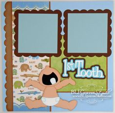 Premade Scrapbook Page First Tooth Baby Boy 12x12 Layout Paper Piecing Baby Boy First Tooth Handmade 52